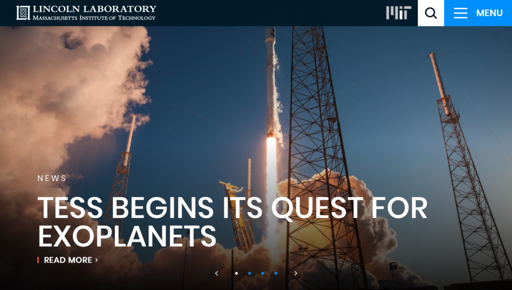 Screenshot of MIT Lincoln Laboratory's front page
