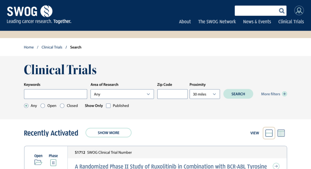 Screenshot of SWOG's Clinical Trial Search
